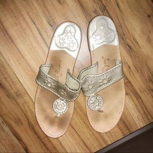 Gold Jack Rogers flip-flop sandals